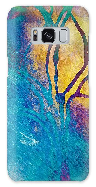 Galaxy Case featuring the mixed media Fire And Ice Abstract Tree Art  by Priya Ghose