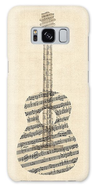 Guitar Galaxy Case - Acoustic Guitar Old Sheet Music by Michael Tompsett