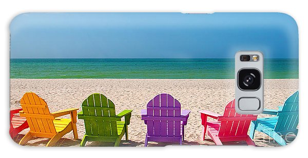Adirondack Chair Galaxy Case - Adirondack Beach Chairs For A Summer Vacation In The Shell Sand  by ELITE IMAGE photography By Chad McDermott