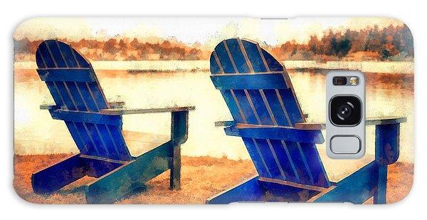 Adirondack Chair Galaxy Case - Adirondack Chairs By The Lake by Edward Fielding