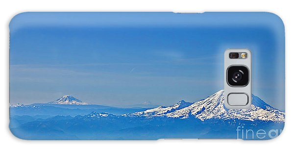 Aerial View Of Mount Rainier Volcano Art Prints Galaxy Case