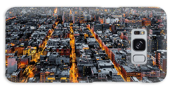 Aerial View Of New York City At Night Galaxy Case