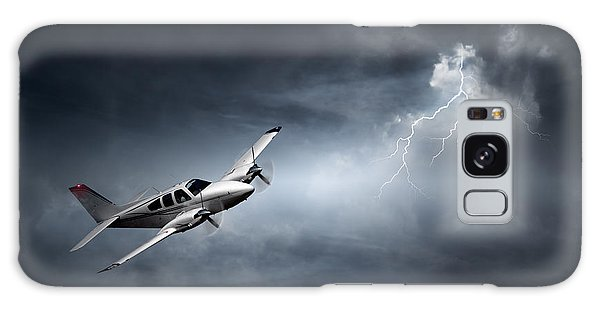 Weathered Galaxy Case - Risk - Aeroplane In Thunderstorm by Johan Swanepoel