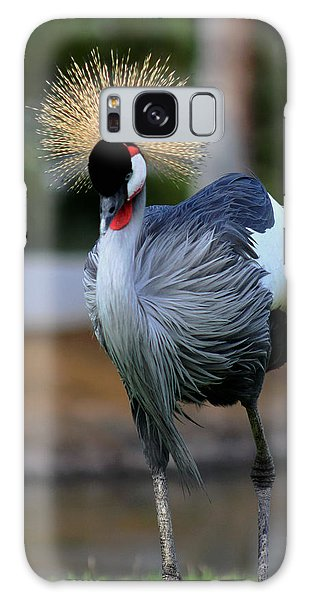 African Crowned Crane Running Galaxy Case
