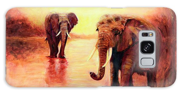 African Elephants At Sunset In The Serengeti Galaxy Case
