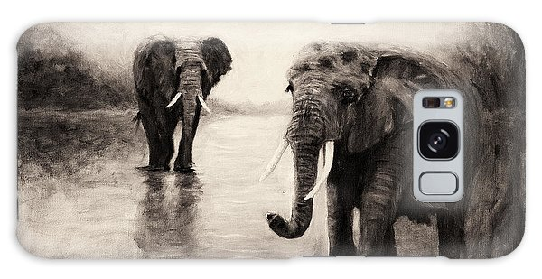 African Elephants At Sunset Galaxy Case
