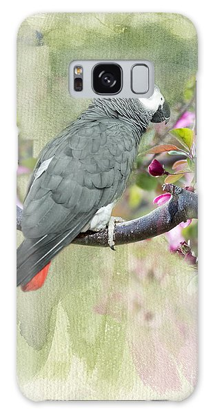 African Gray Among The Blossoms Galaxy Case