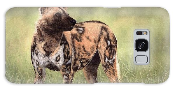 African Wild Dog Painting Galaxy Case