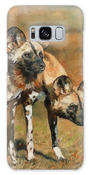 Wildlife Galaxy Case - African Wild Dogs by David Stribbling