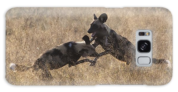 African Wild Dogs Play-fighting Galaxy Case