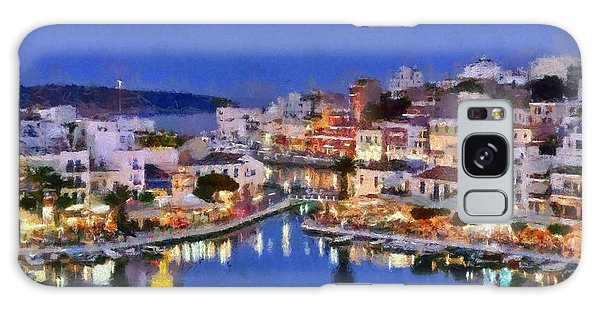 Painting Of Agios Nikolaos City Galaxy Case