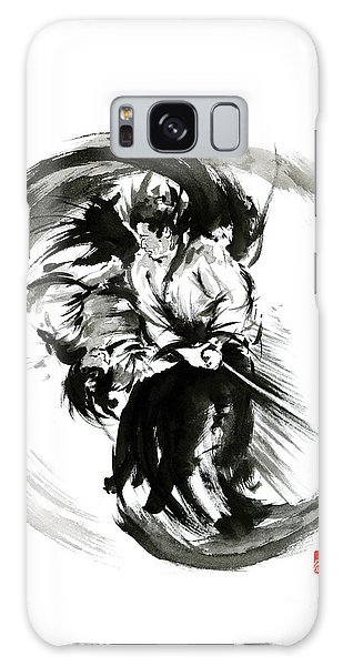 Aikido Techniques Martial Arts Sumi-e Black White Round Circle Design Yin Yang Ink Painting Watercol Galaxy Case