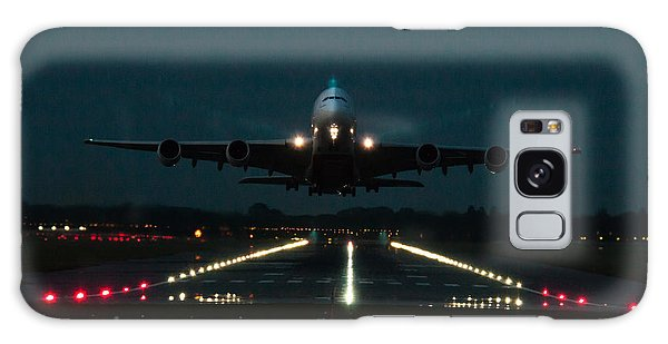 Airbus A380 Take-off At Dusk Galaxy Case by Tim Beach