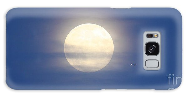 Airplane Flying Into Full Moon Galaxy Case