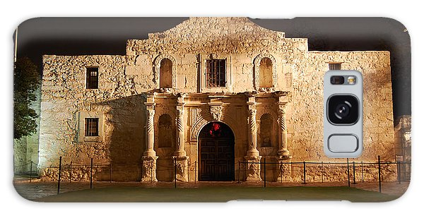 Alamo Mission Entrance Front Profile At Night In San Antonio Texas Galaxy Case