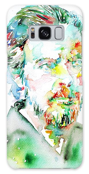Alan Watts Watercolor Portrait Galaxy Case by Fabrizio Cassetta