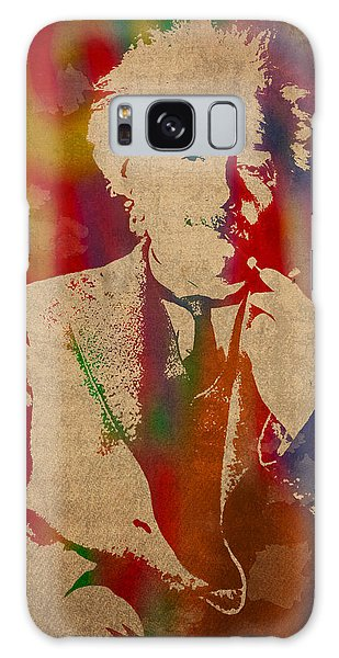 Galaxy Case - Albert Einstein Watercolor Portrait On Worn Parchment by Design Turnpike
