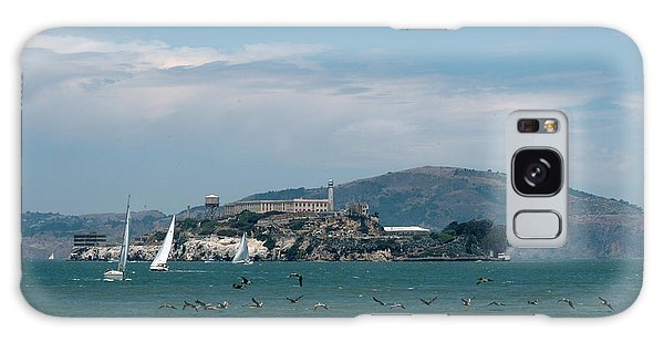 Alcatraz With Pelicans Galaxy Case