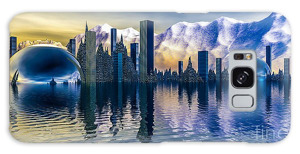 Alien Cityscape  Galaxy Case by Arlene Sundby