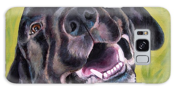 All Smiles Black Dog Galaxy Case