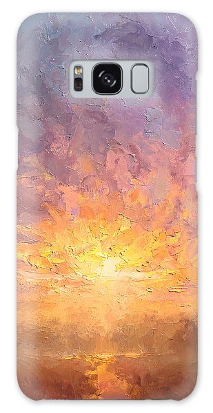 Impressionistic Sunrise Landscape Painting Galaxy Case by Karen Whitworth