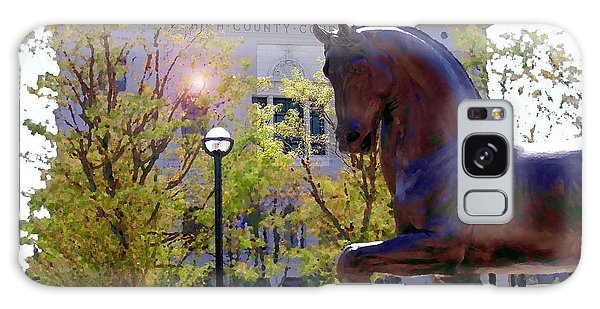 Allentown Pa Old Lehigh County Courthouse And Davinci Horse  Galaxy Case by Jacqueline M Lewis
