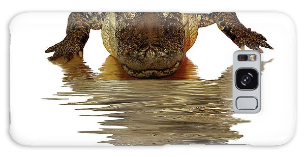 Alligator Making Eye Contact With You Galaxy Case by Linda Matlow