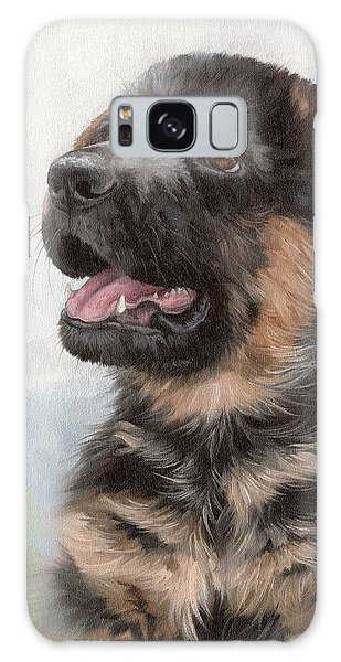 Alsatian Puppy Painting Galaxy Case by Rachel Stribbling