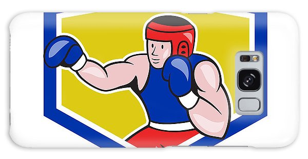 Sportsman Galaxy Case - Amateur Boxer Boxing Shield Cartoon by Aloysius Patrimonio