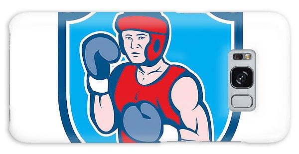 Sportsman Galaxy Case - Amateur Boxer Stance Shield Cartoon by Aloysius Patrimonio