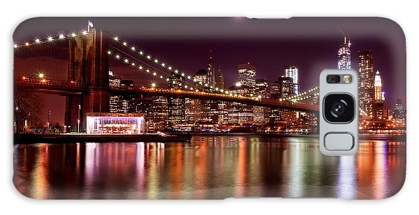 Amazing New York Skyline And Brooklyn Bridge With Moon Rising Galaxy Case