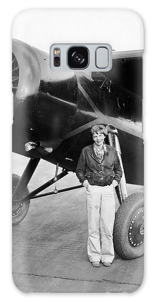 Amelia Earhart And Her Plane Galaxy Case