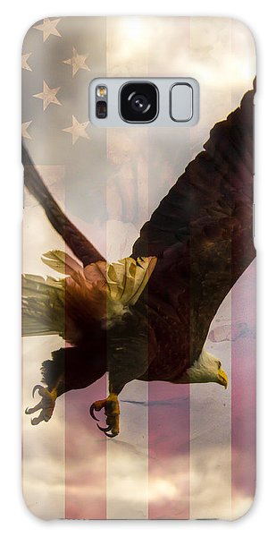 American Bald Eagle In Flight Wtih Flag Galaxy Case