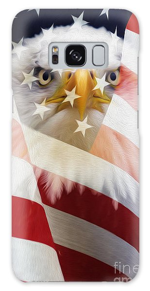 American Flag And Bald Eagle Montage Galaxy Case