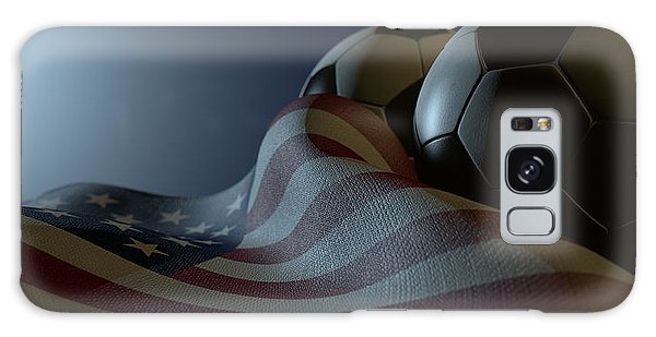 Front Galaxy Case - American Flag And Soccer Ball by Allan Swart