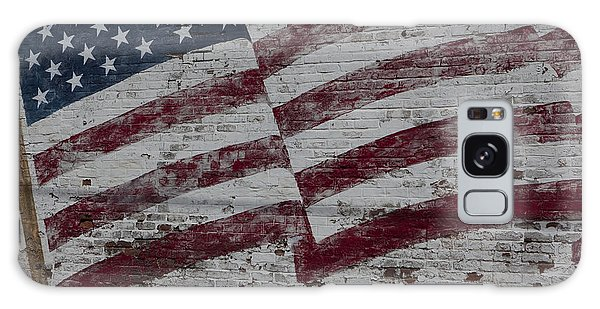 American Flag Painted On Brick Wall Galaxy Case