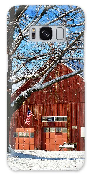 American Flag Red Barn Galaxy Case by Dee Flouton
