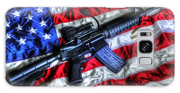 American Flag With Rifle Galaxy Case