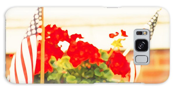American Flags And Geraniums In A Wheelbarrow One Galaxy Case
