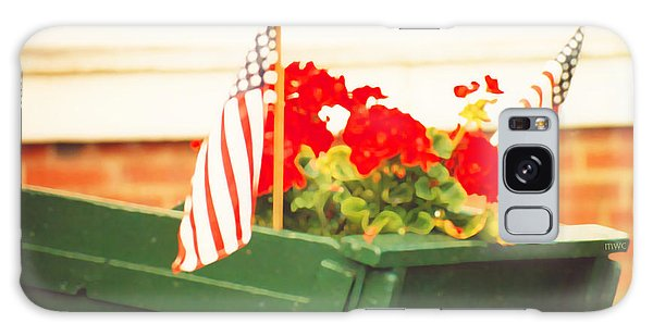 American Flags And Geraniums In A Wheelbarrow In Maine, Two Galaxy Case