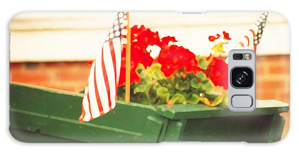 American Flags And Geraniums In A Wheelbarrow Two Galaxy Case by Marian Cates