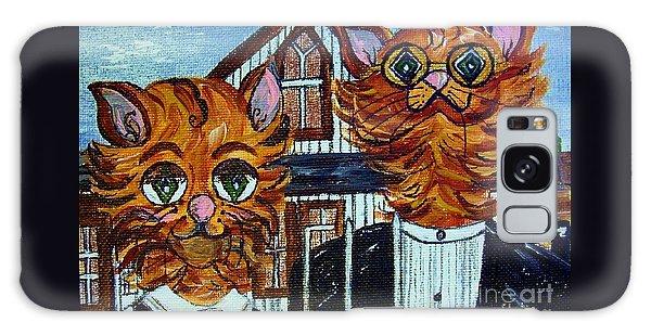 American Gothic Cats - A Parody Galaxy Case by Eloise Schneider