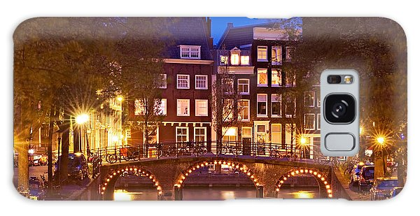 Galaxy Case featuring the photograph Amsterdam Bridge At Night by Barry O Carroll