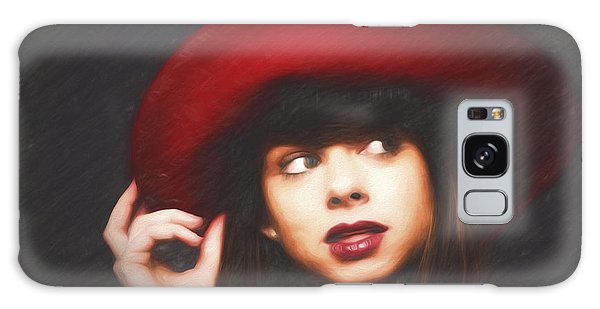 Amy And The Red Hat  ... Galaxy Case by Chuck Caramella