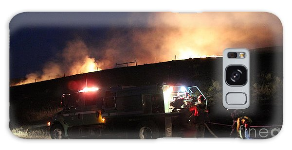 An Engine Crew Works At Night On White Draw Fire Galaxy Case by Bill Gabbert