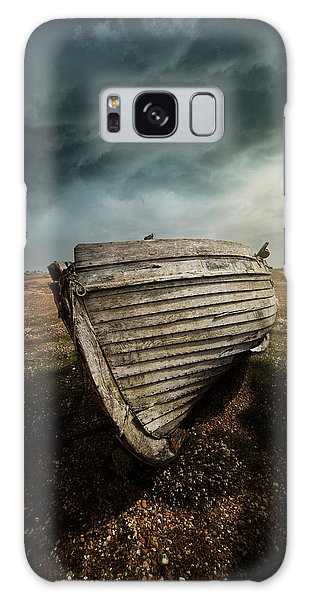 An Old Wreck On The Field. Dramatic Sky In The Background Galaxy Case