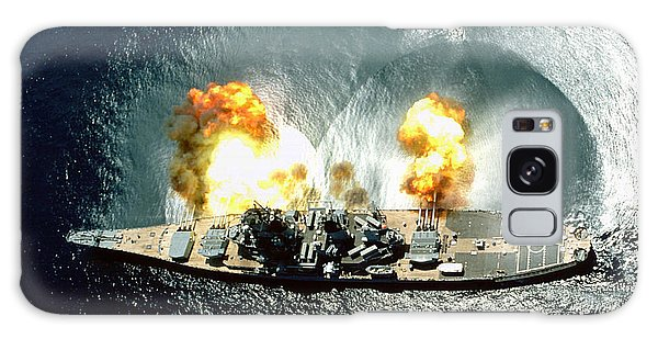 An Overhead View Of The Battleship Uss Iowa Bb61 Firing All 15 Of Its Guns Galaxy Case by Paul Fearn