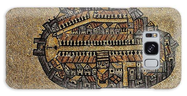 Ancient Jerusalem Mosaic Map Color Framed Galaxy Case