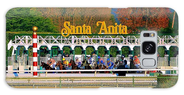 And They're Off At Santa Anita Galaxy Case by Nadalyn Larsen