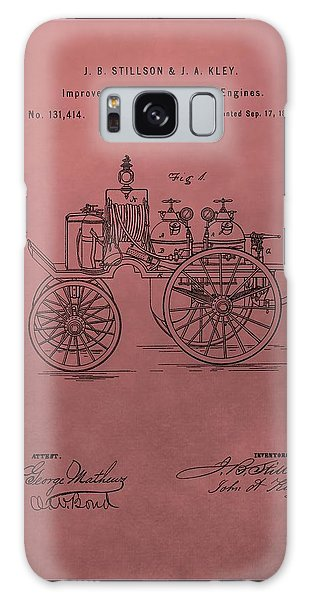 Old Truck Galaxy Case - Antique Fire Engine Patent On Red by Dan Sproul